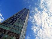 sky, building, glass