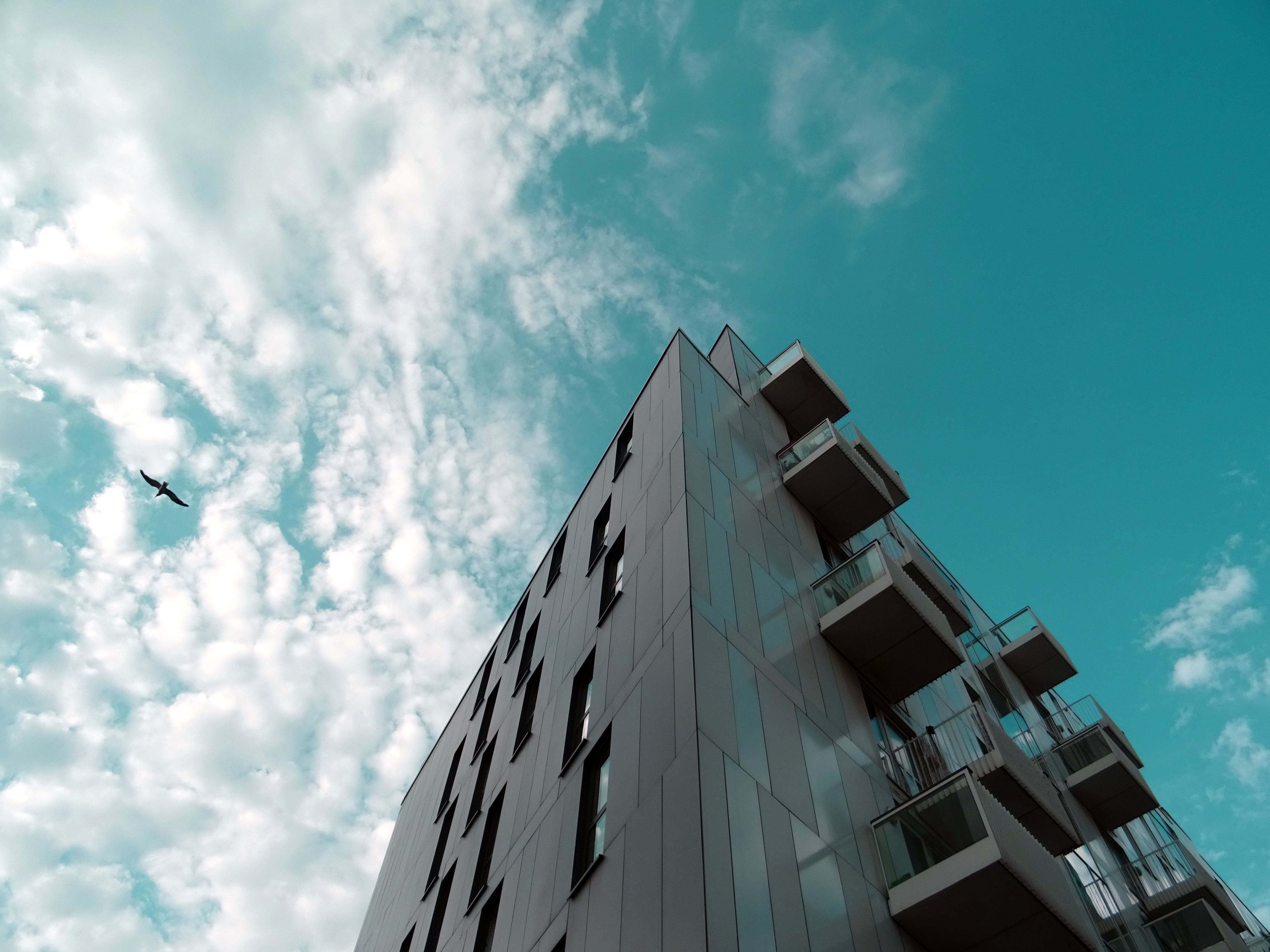 バルコニー, ローアングルショット, 建築, 見通しの無料の写真素材