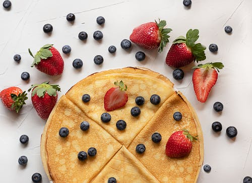 Pancakes with Strawberries and Blueberries