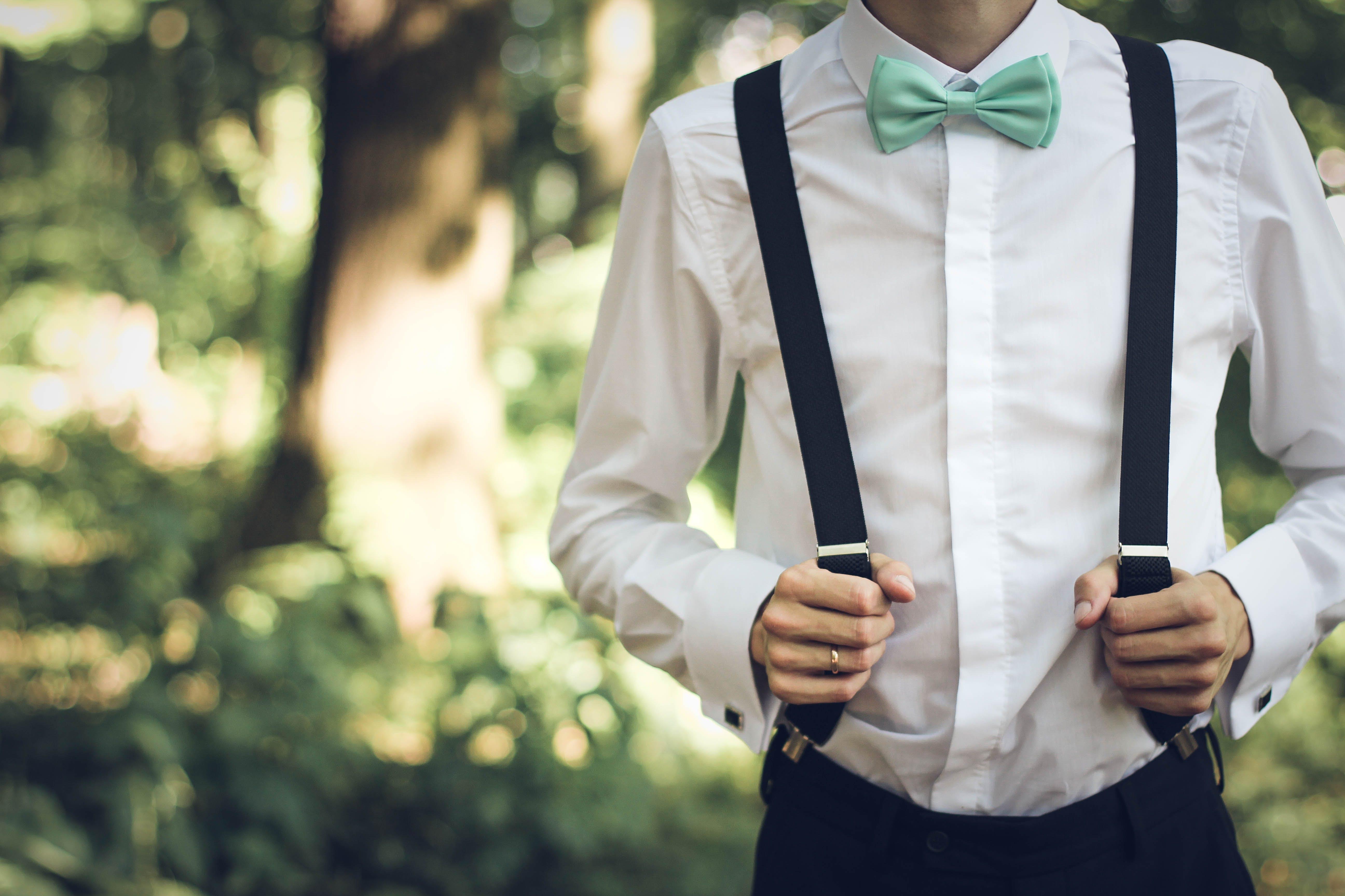 adult, blur, bow tie