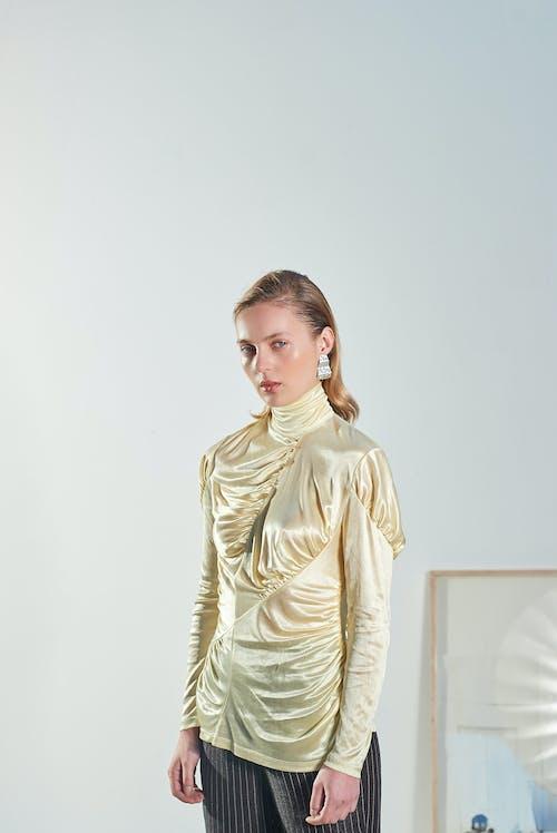 Woman in White Long Sleeve Shirt