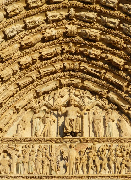 Sculpture on ancient cathedral with ceiling