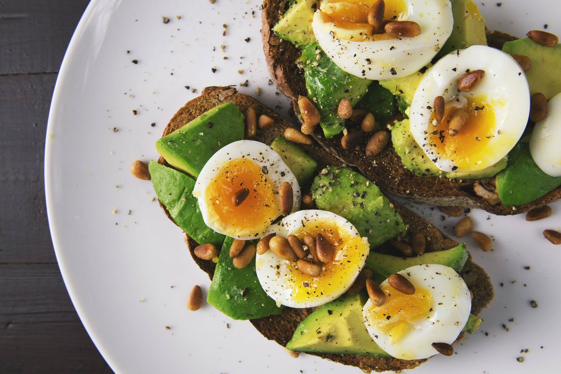 Bread, avocado and egg cuisine