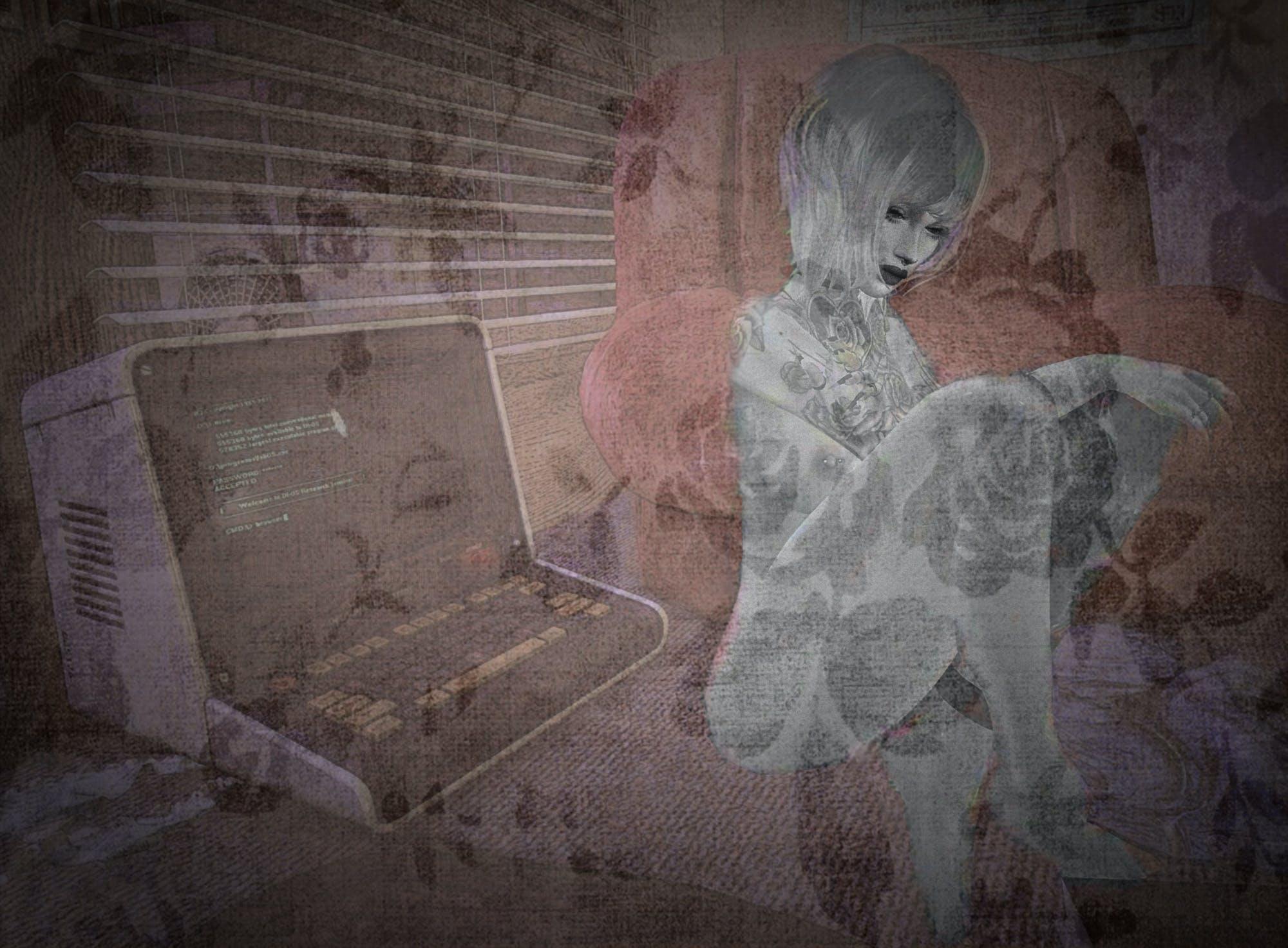 nude, technology, woman