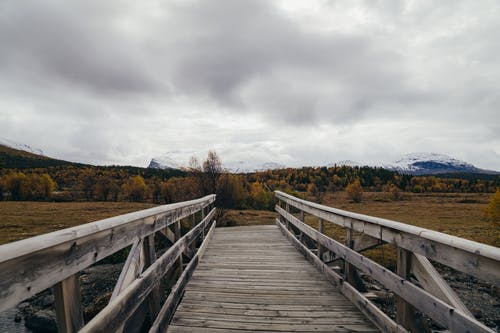 Narrow wooden boardwalk leading to forest located against snowy mountains under cloudy sky