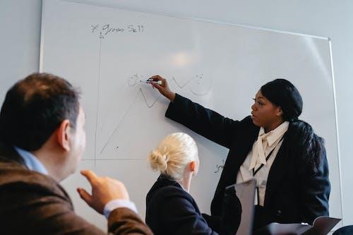 Gruppo Di Colleghi Per Discutere Le Statistiche In Ufficio