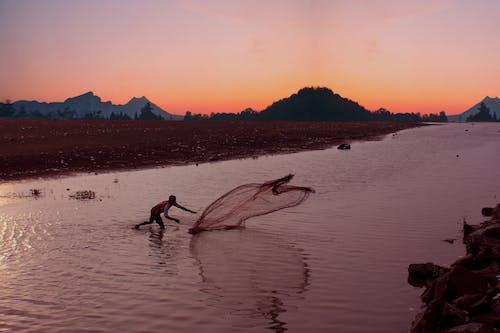 Free stock photo of 4k wallpaper, beach sunset, catching fish