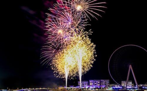 Yellow Fireworks Display during Nighttime