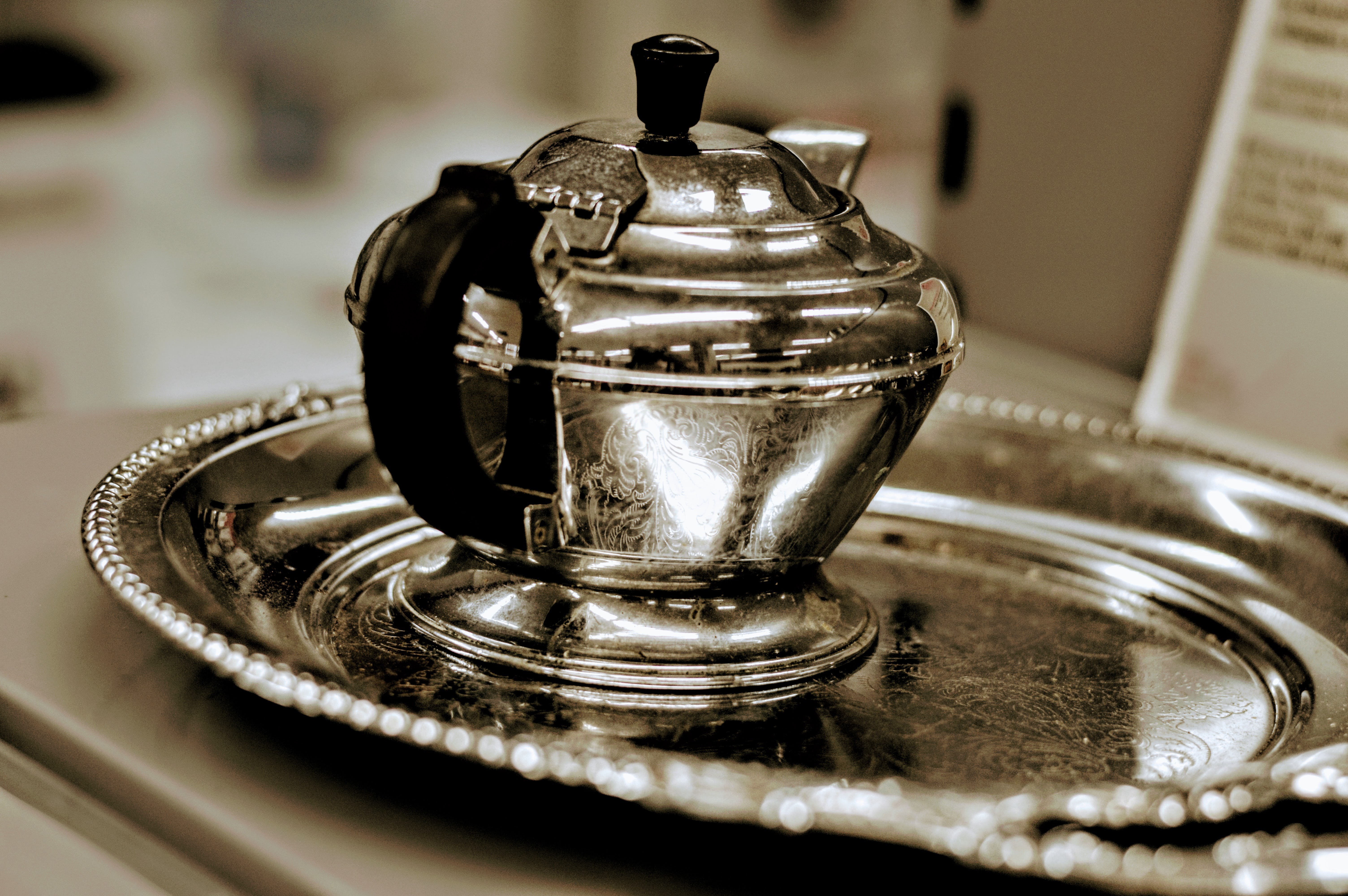 Silver Teapot on Tray
