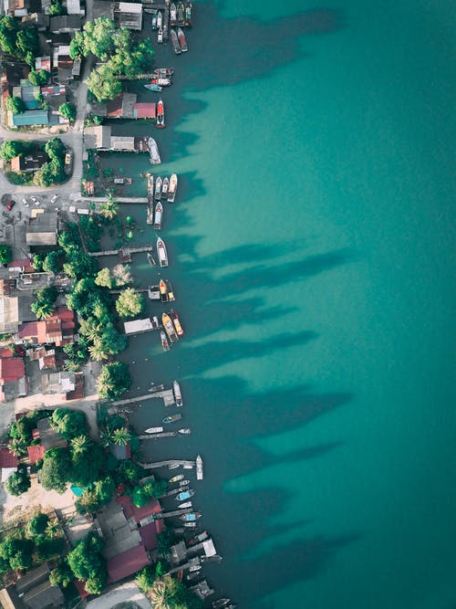 Drone view of row of quays and buildings next to tall green trees on shore casting shadow on silent turquoise lagoon in sunlight