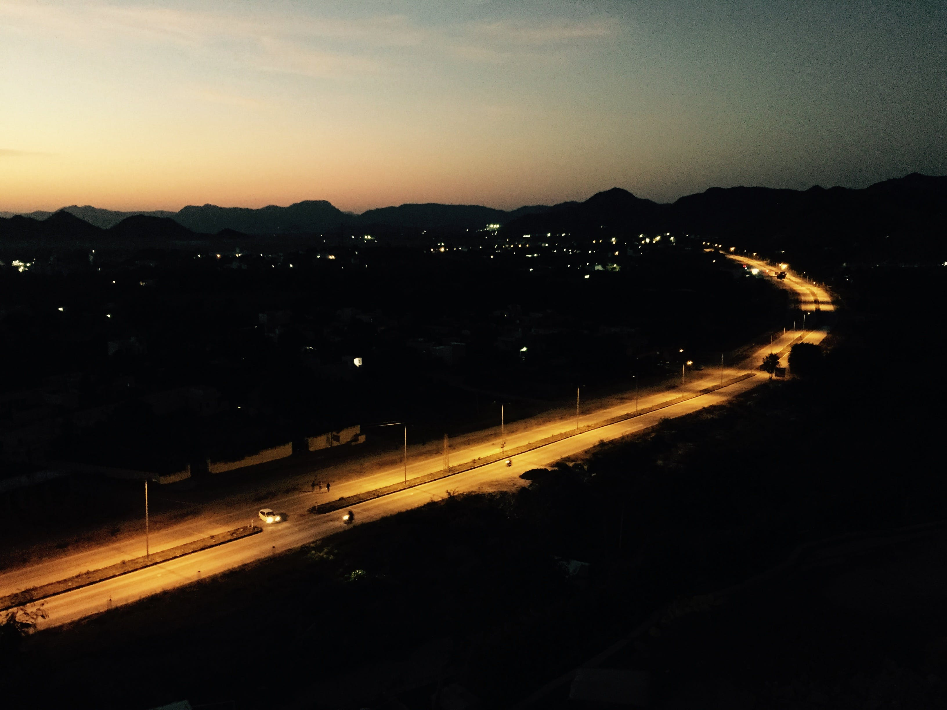 evening, highway, night