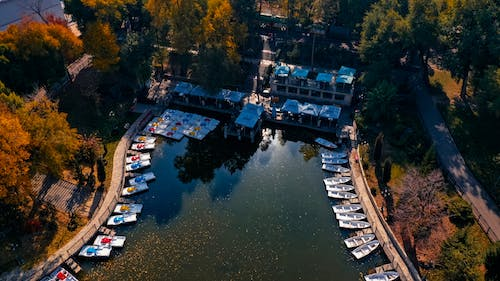 Aerial Footage of Boats Docked on Pier