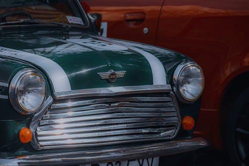 Hood of old green car