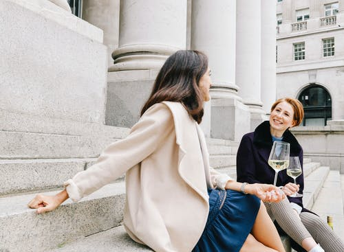 Free stock photo of beautiful women, best friends, glass of wine