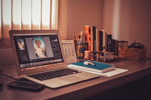 Free stock photo of apple, books, desk, laptop
