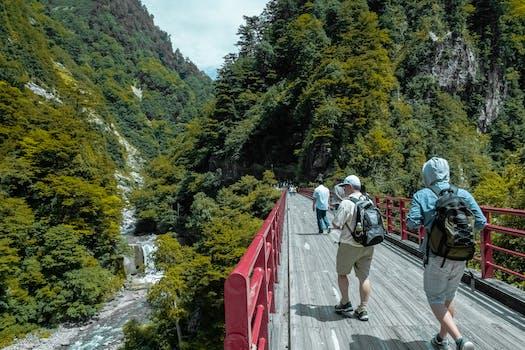 Free stock photo of mountains, people, water, bridge