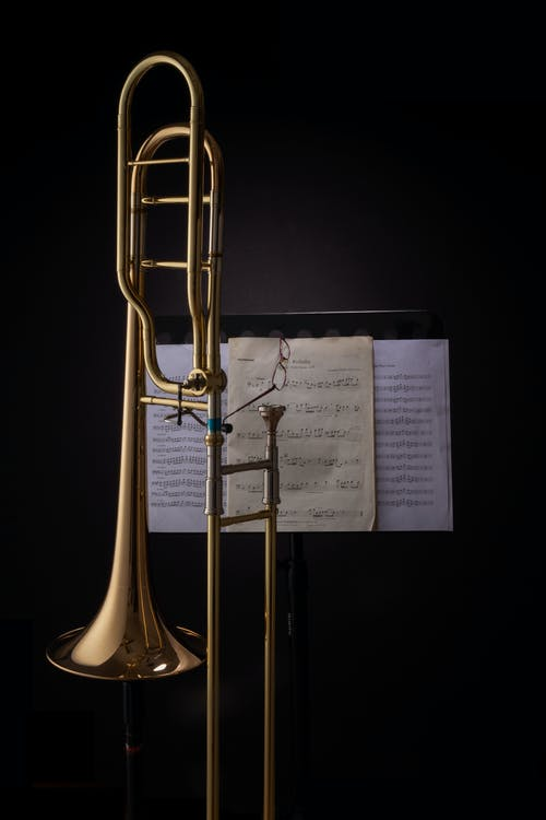 Brass Trumpet With Musical Notes