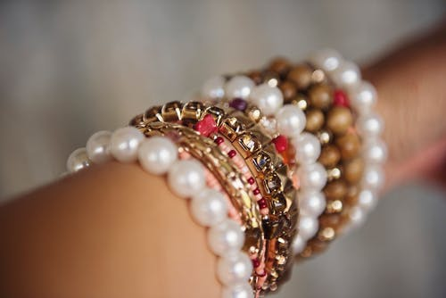 Selective-focus Photography of Bracelet Lot