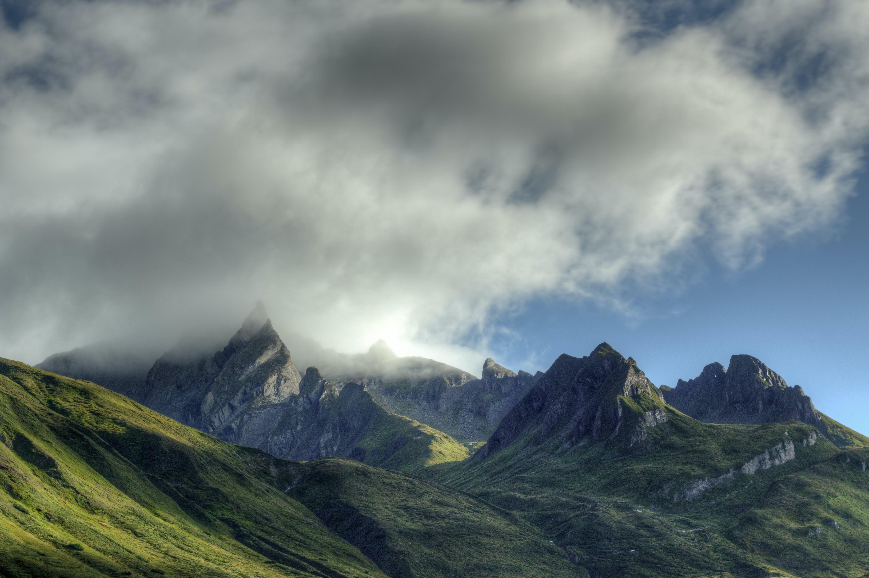 alpen, berge, bewölkt