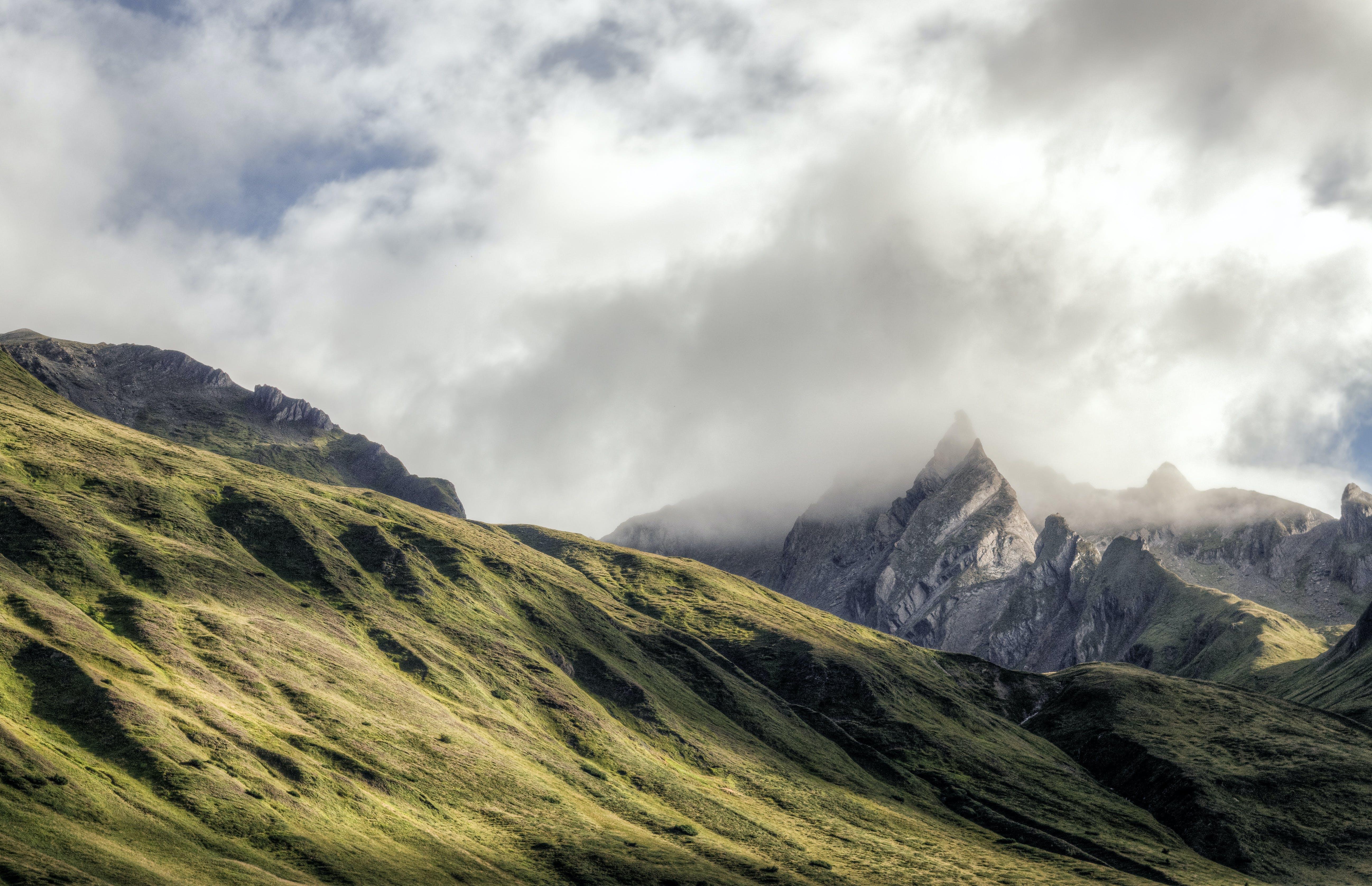 bergen, dimmig, himmel