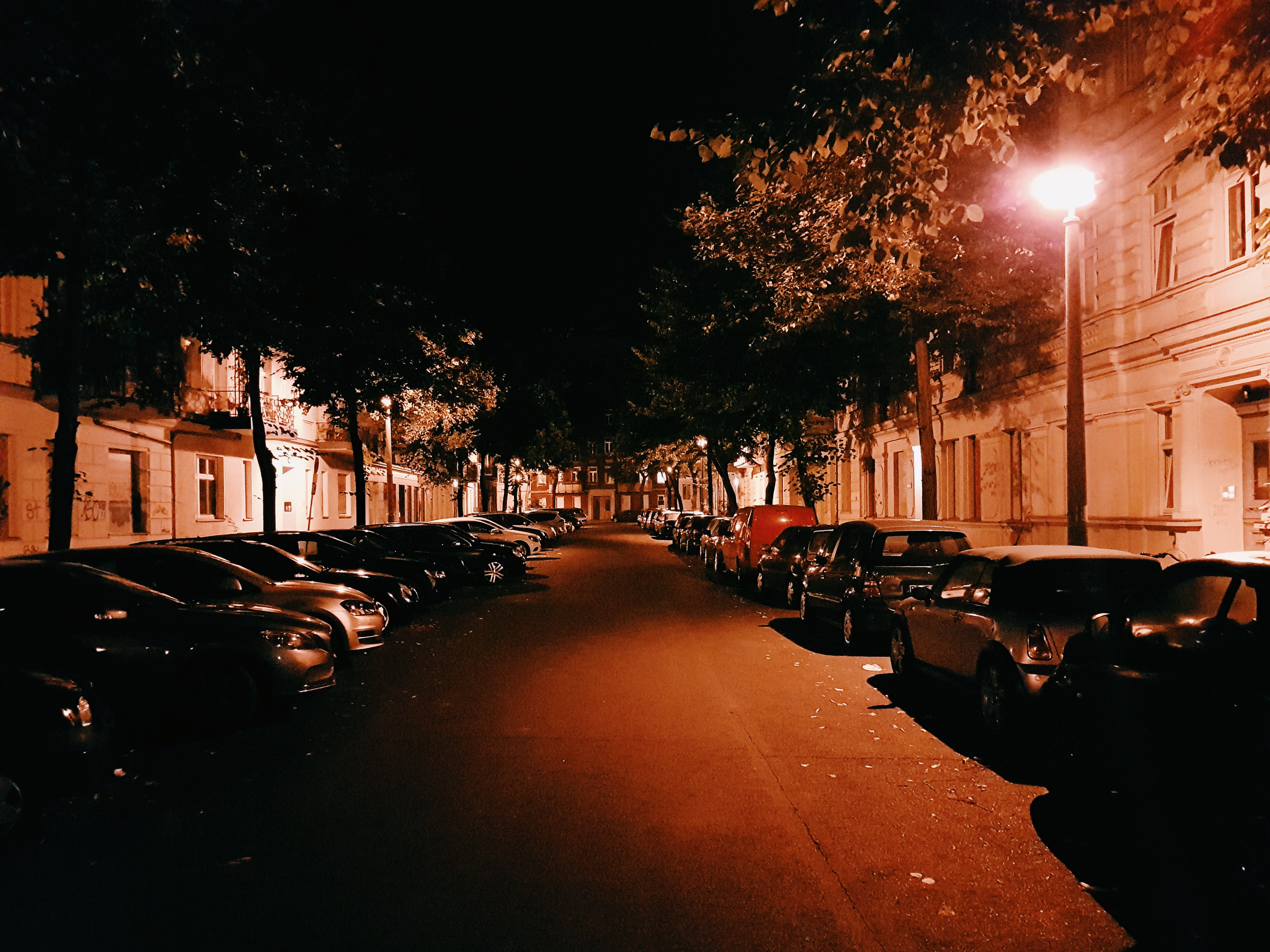Assorted Cars Parking on Street during Nighttime