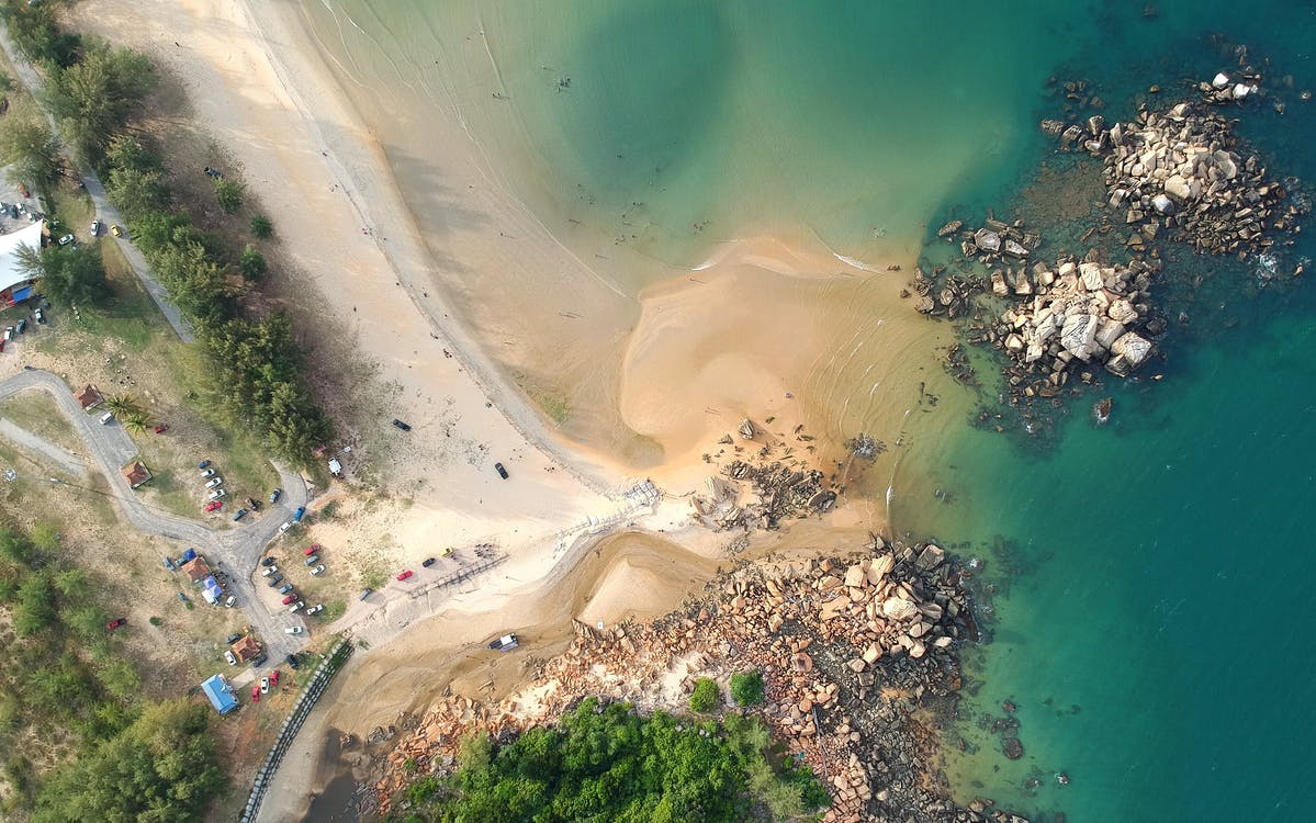 aerofotografia, água, areia