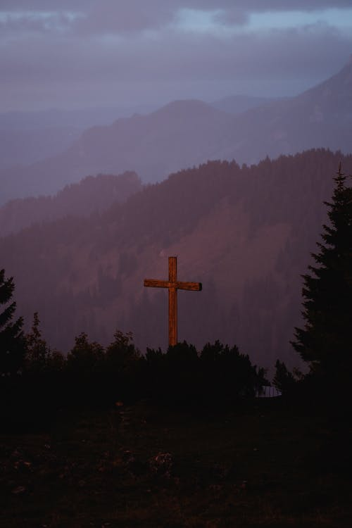 Brown Cross on Top of the Mountain