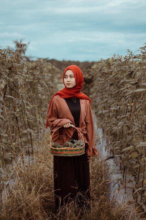 Woman in Red Hijab Standing on Brown Grass Field