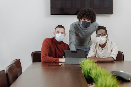 Men Wearing Face Mask at Work