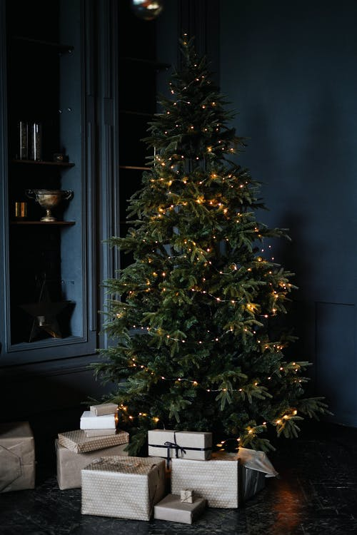 Tall green Christmas tree decorated with small glowing garlands and surrounded by shelves and bunch of boxes with gifts in dark room