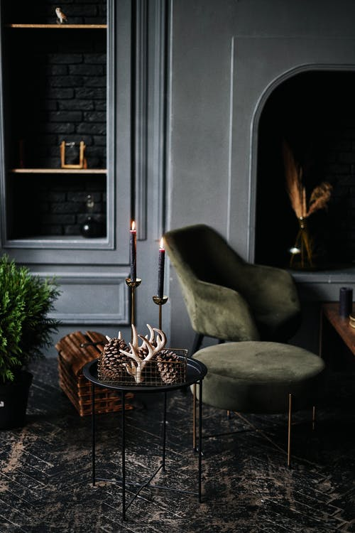 Furniture and decorative items in dark room