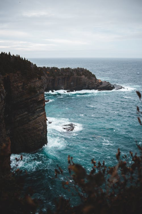 Breathtaking scenery of foamy waves of powerful ocean crashing near rocky cliffs with lush trees growing on top against cloudy sky
