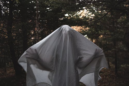 Spooky anonymous person covered with sheet standing in lush green wood in summer