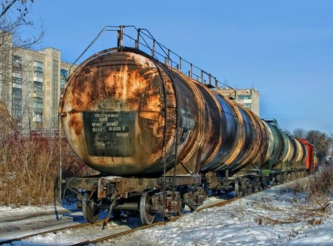 Black Brown and White Container Train