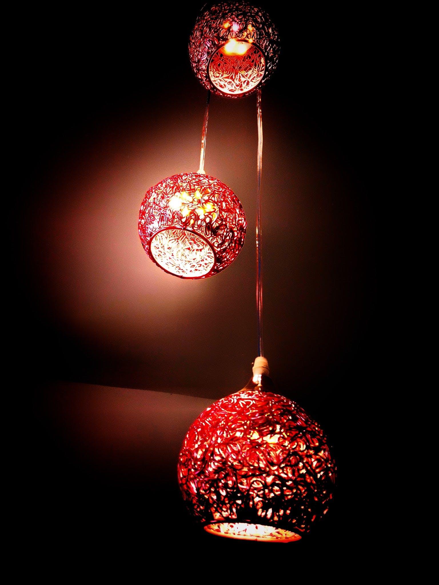 Lighted Red Hanging Lantern