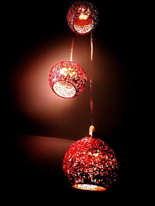 Lighted Red Hanging Lantern