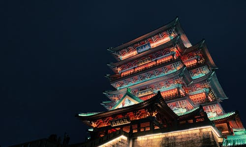 Illuminated Temple at Night Time