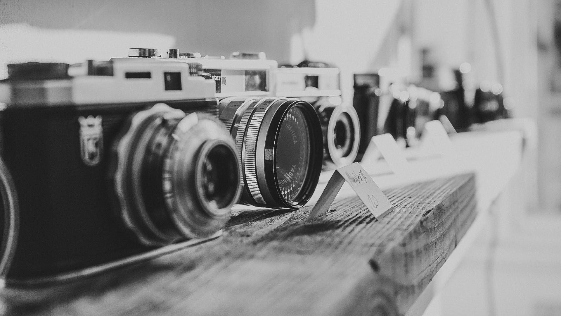 Free stock photo of black-and-white, camera, vintage, technology