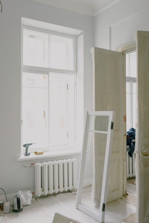 Window frame near doors in new house