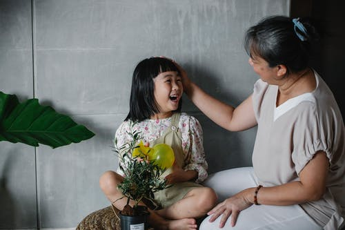 Happy Asian woman caressing charming granddaughter with green plant in pot spending time at home