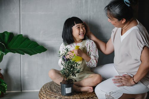 Asian granny caressing cute granddaughter taking care of potted plant at home