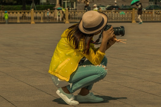 Free stock photo of city, street, camera, taking photo