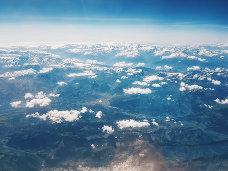 Free stock photo of bird's eye view, landscape, mountains, clouds