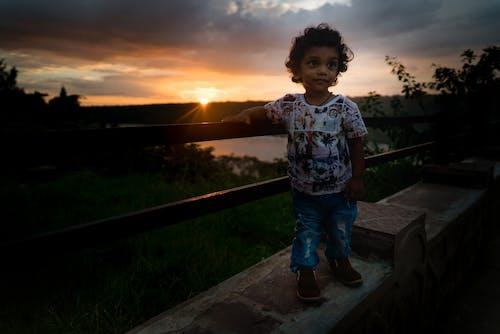 キッズ, ファッション, 夕日, 太陽の光の無料の写真素材