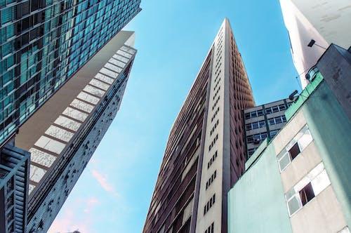 Modern skyscrapers under clear blue sky