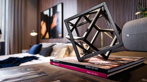 Creative geometric decoration on table in modern bedroom
