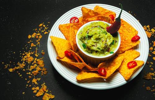Plate with crispy nachos and savory guacamole