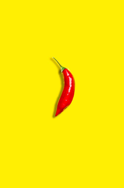 Top view ripe red chili pepper placed on bright yellow surface in studio