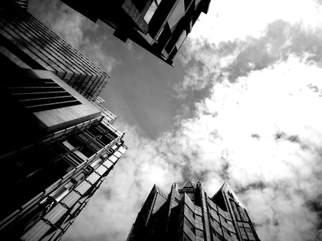 Free stock photo of black-and-white, city, sky, buildings