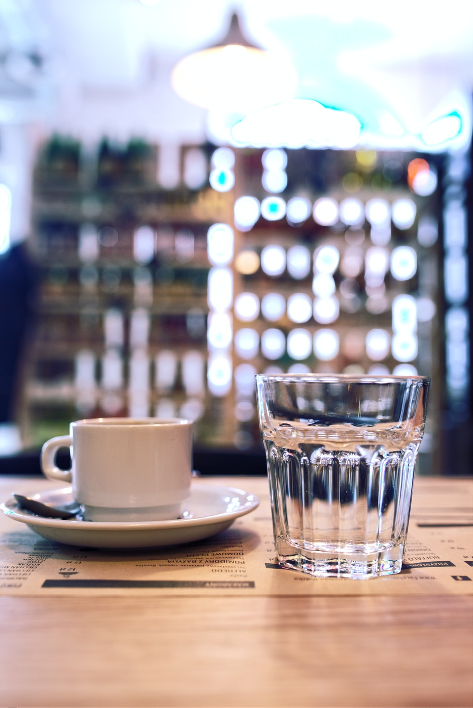 Cup of coffee and glass of water